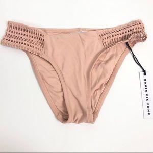 Robin Piccone Perla Bikini Bottoms Crochet Tab L
